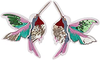 Yalulu 1 Pair Sequin Bird Patch Hummingbird Iron On Applique Sewing Patchwork Embroidered Beaded Patches for Clothing Iron Sew Applique Patches Jackets Badge Shoes Bags Stickers