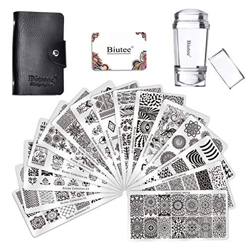 Biutee Nail Plates Nail Stamping Templates maniküre Stempelschablonen 15er Nail Art Plates mit 1pcs Dual-head Stamper 2 Scraper und 1 aufbewahrungtasche
