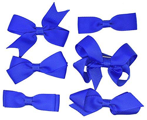 Ensemble de 6 de l'école Pince à cheveux Bleu Filles Enfants Petits Noeuds ruban gros grain uniforme
