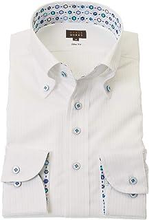 STYLE WORKS (スタイルワークス) ドレスシャツ ワイシャツ カッターシャツ シャツ 派手シャツ 柄シャツ 長袖 表綿 ポリエステルエステル 別生綿 ボタンダウン