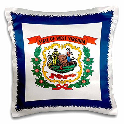 3dRose Flag of West Virginia WV-US American United State of America USA. Farmer Miner Coat of arms Wreath-Pillow Case, 16-inch (pc_159829_1) -  3dRose LLC