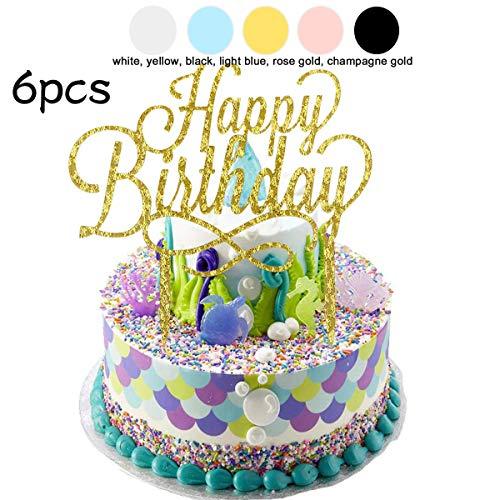 BESLIME Geburtstag Kuchen Topper, Gute zum Geburtstag Kuchen Topper Happy Birthday Cupcake Pick für Party Dekoration,6 Stücke