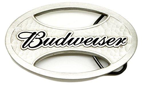 Budweiser riem gesp koning van bier zilver ovaal met zwarte letters ontwerp authentieke officieel gelicenseerd product