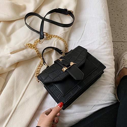 LOH Pierre Motif en Cuir Couleur Unie Bandoulière Sacs Femmes Chaîne Épaule Messenger Sac Lady Sacs À Main, Noir, 20 cm x 15 cm x 8 cm