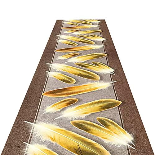 YYQIANG Alfombra de Entrada de Pila Corta Suave con diseño de Plumas de Oro, fácil cuidamiento Antideslizante Resistente, Adecuado para Todo Suelo Duro, una Variedad de tamaños