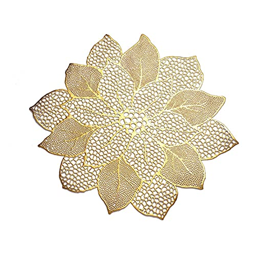 JSJJAEY Portavasos Taza de Soporte Placemat de Placas de Cocina para Cocina Mesa de Comedor Simulación Planta PVC Mat Mat Decorative Pad Decoración para el hogar (Color : Gold)