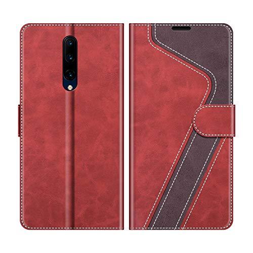MOBESV Handyhülle für Oneplus 7 Pro Hülle Leder, Oneplus 7 Pro Klapphülle Handytasche Hülle für Oneplus 7 Pro Handy Hüllen, Modisch Rot