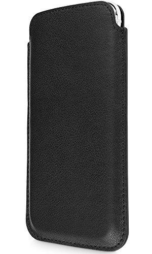 WIIUKA Echt Ledertasche - Pure - für Apple iPhone 11 Pro & iPhone X/XS, Hülle, extra Dünn, Schwarz, im Slim Design, Premium Leder Tasche