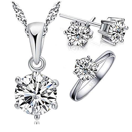 Conjunto de Joyas para Mujer 925, Pendientes pequeños mujer plata ,Collar y Anillo de Plata de Ley 925, aretes pequeños niñas Colgante y anillo.Incluye caja para Regalo.