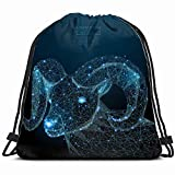 Abstract Image Ram Form Starry Sky Animals Wildlife Sheep Signs Symbols Drawstring Backpack Gym Dance Bags for Girls Kids Bag Shoulder Travel Bags Birthday Gift for Daughter Children Women