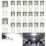 ALOPEE - (Paquete de 20) Lámpara de Repuesto de Iluminación Interior LED Blanca para Stock # 194/168/2825/501 / W5W Luz de Matrícula de Maletero con Domo de Mapa, con 5 Piezas 5050 Chips, DC 24V.