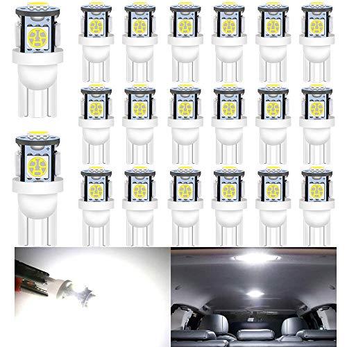 Alopee --- (Paquete de 20 Lámpara de Repuesto de Iluminación Interior LED Blanca para Stock # 194/168/2825/501 / W5W Luz de Matrícula de Maletero con Domo de Mapa, con 5 Piezas 5050 Chips, DC 24V.