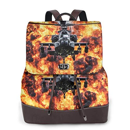 SGSKJ Rucksack Damen Apache Kampfhubschrauber, Leder Rucksack Damen 13 Inch Laptop Rucksack Frauen Leder Schultasche Casual Daypack Schulrucksäcke Tasche Schulranzen