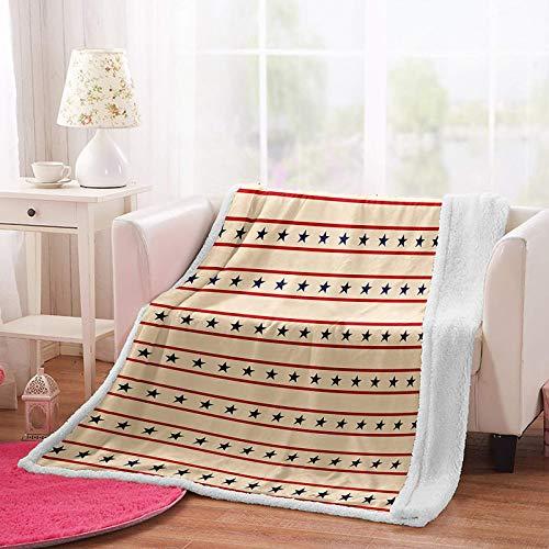 MSFDC mantas de vellón ponderadas para niños Estrella roja línea azul de cinco puntas W80xH130cm Snug Rug Sherpa Fleece Throws para sofás mantas de felpa para cama doble regalos de vacaciones muebles