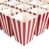 Juego de 100 cajas de regalo de palomitas de maíz, ideales para noches de cine, fiestas temáticas de películas, fiestas de carnaval, fiesta pirata, 9,4 x 19,8 x 9,4 cm, color rojo y blanco