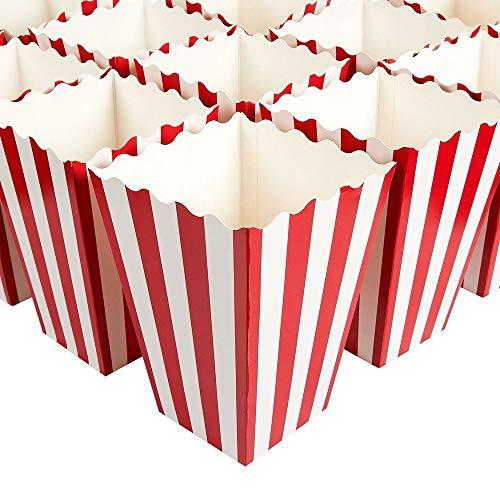 Set di 100 scatole per bomboniere popcorn - Contenitori per popcorn di carta, per serate di film, feste a tema cinema, feste di carnevale, festa dei pirati, rosso e bianco, 10,8 x 15,7 x 10,8 cm