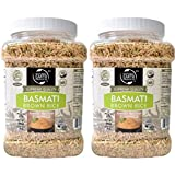 Natural Earth Products - Basmati Brown Rice - Long Grain Rice - Perfect for Cooking - Rice Container - Kosher Certified - 34Oz (2.13LB) (2-Pack)