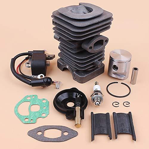 Tiempo Beixi 39mm Cilindro Pistón Bobina de Encendido Kit de Bomba de Aceite Compatible con Husqvarna Reconstruir 236 240 235 Motosierra Motor de Piezas de Repuesto # 545 05 04 17