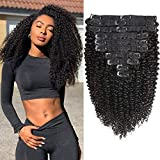 Kinky Curly Clip in Human Hair Extensions Brazilian 8A Grade Human Hair for Black Women Real Soft Thick Afro Kinky Curly Hair Clip Ins 3c 4a,Blends Well,Natural Black Color,10/Pcs,120 Gram,16 Inch