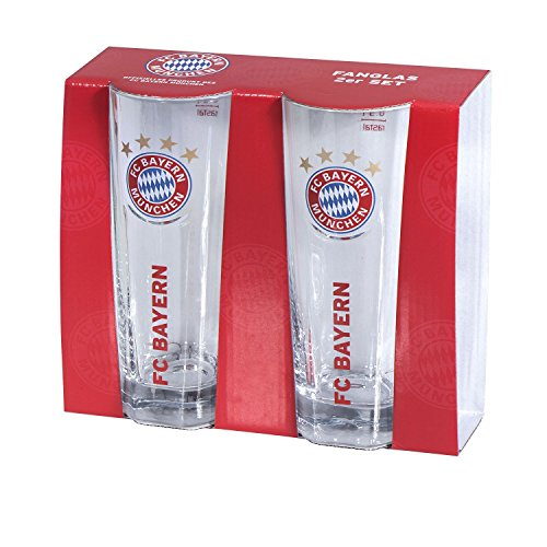Glas/drinkglas/vangglas 2-delige set FCB FC Bayern München - glas, bierglas, mug, jug, jarra, cruche