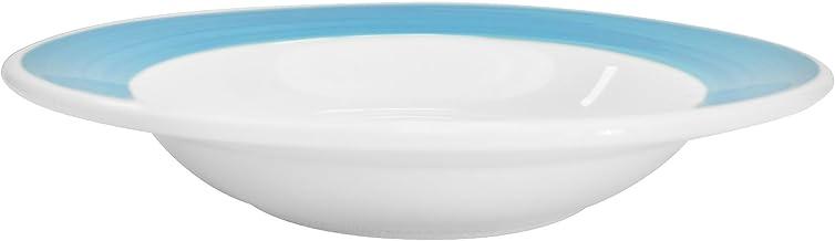 صحن معكرونة خزفي ملون بحواف دائرية من كاسي شاينا 8-3/4-Inch, 12-Ounce R-3-BLU