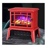YXB Calefacción eléctrica con efecto de llama realista, 2 niveles de calor, 1000-1500 W, calefacción interior eléctrica independiente, color rojo