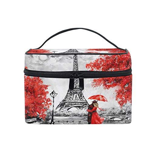 Bolsa de maquillaje, pintura al óleo de París Torre Eiffel portátil de viaje con impresión grande bolsa de cosméticos organizador compartimentos para niñas mujeres señora