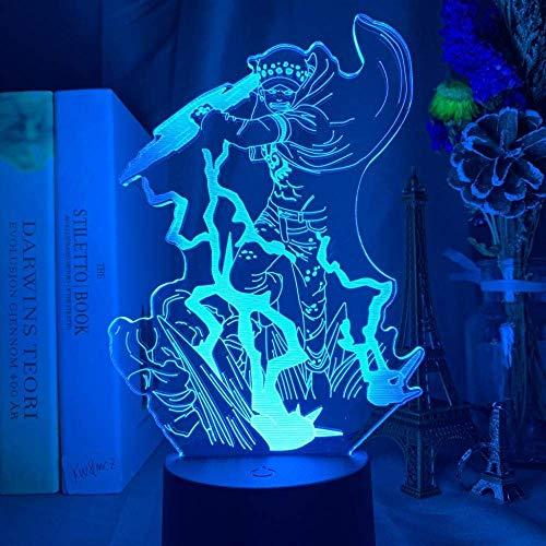 3D ilusión luz LED noche japonesa anime de una sola pieza Trafalgar D. método de agua dormitorio niños decoración lámpara de mesa regalo de cumpleaños