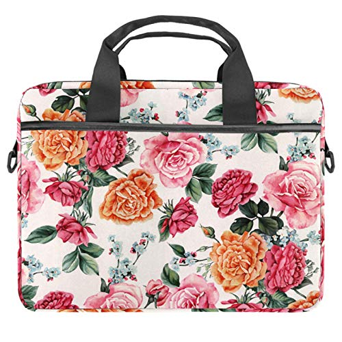 Laptop Bag Floral Flower Notebook Sleeve with Handle 13.4-14.5 inches Carrying Shoulder Bag Briefcase