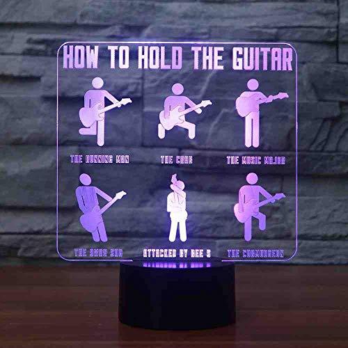 RJGOPL 3D gitarist modellering lamp 7 kleuren wijzigen, visueel LED Touch Button Nachtlampje als het vasthouden van de gitaar etc. Tafellamp voor kinderen