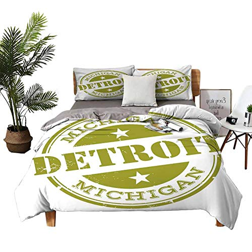 DRAGON VINES Bed Sheets Detroit Decor Bed Sheets Full Set Aged Grunge Detroit Michigan Stamp Design with Stars Tourism Travel W90 xL90 Olive Green White