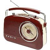 Konig HAV-TR710BR - Radio AM/FM (estilo retro, 1.5 W RMS), color marrón