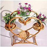 LHLYL-DP Rattan Plant Stand, Wicker Flower Pot Rack Holzregal, 4 Tier Patio Display Regale, Holz Pflanzerhalter, Pflanzen Sukkulenten Blumen Dekore, für Outdoor/Indoor