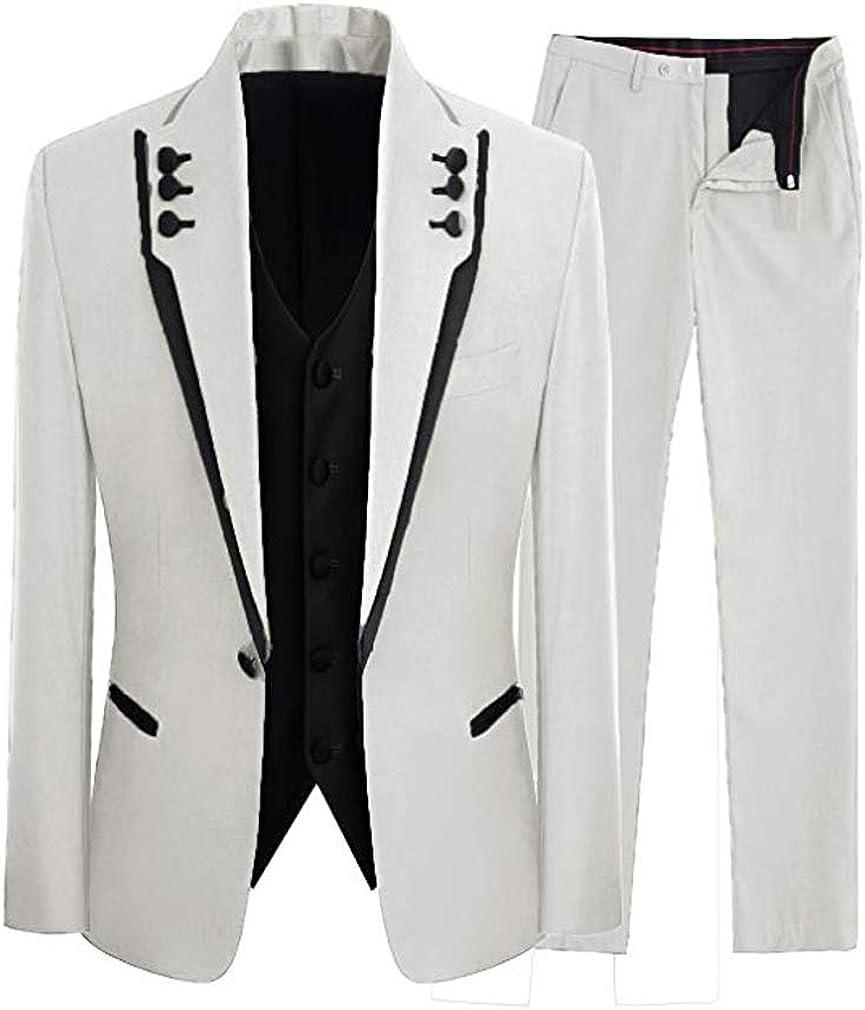 Abruzzomaster Black Edge Jacket for Groom Tuxedos 3 Pieces Man Suits White Groomsman Suit