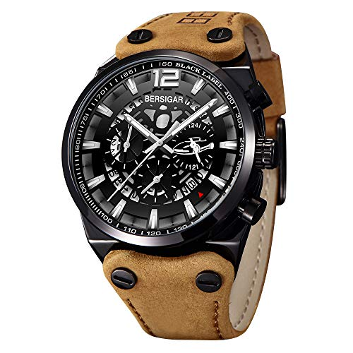 BERSIGAR Herrenuhren Military Skeleton Chronograph Quarz Herren Outdoor Grosses Zifferblatt mit braunem Lederarmband