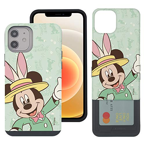 WiLLBee Compatible with iPhone 12 Pro MAX Case (6.7inch) Dual Layer Card Slide Slot Wallet Bumper Cover - Bunny Mickey Mouse