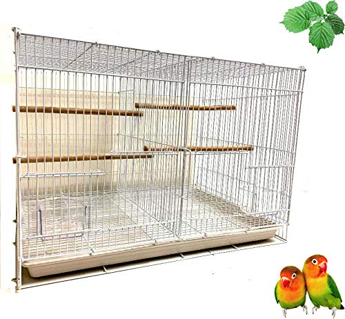 Mcage Aviary Breeding Bird Finch Parakeet Finch Flight Cage 24' x 16' x 16' with Divider White