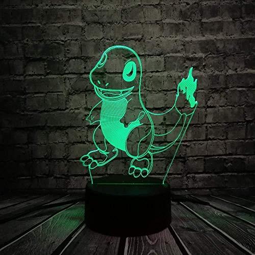 3D Slideshowillusion 16 Farben Nachtlicht Verkauf Japanischen Cartoon Pokemons Go Game Usb Lampe Tierfigur Charmander Kleine Feuer Drachen Bunte Nachtlicht Spielzeug 3D Lampe