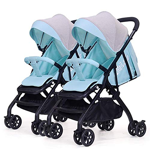 QQ LONG Doppelter Kinderwagen-Sommer-kleines Regenschirm-Auto Abnehmbarer Leichter faltender doppelter Baby-Strolle,C