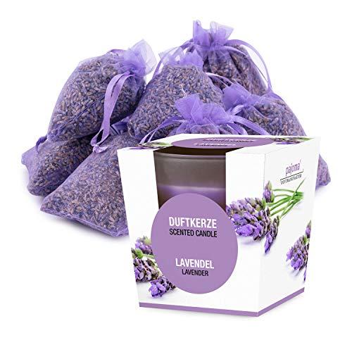 pajoma 10 Lavendelsäckchen Lavendelbeutel Sachets Plus wahlweise mit Duftöl Raumduft oder Kerzen (Kerzen Set)