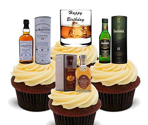 Made4You Gelukkige Verjaardag, Whisky Lover Eetbare Cake Decoraties - Stand-up Wafer Cupcake Toppers