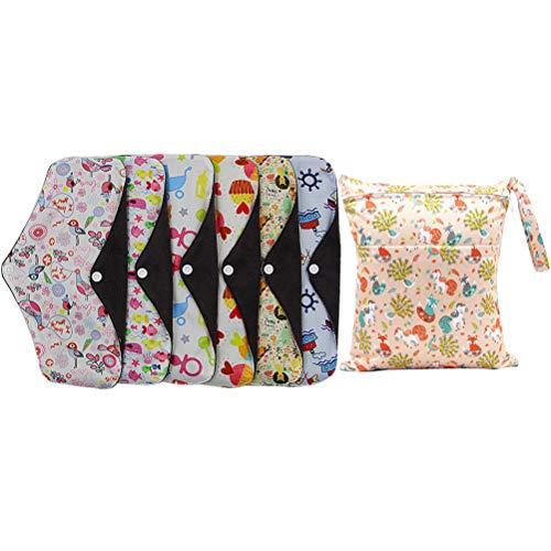 Healifty Toallas sanitarias Reutilizables Lavables, Almohadillas menstruales con Bolsa de Almacenamiento 10pcs (Color Aleatorio)
