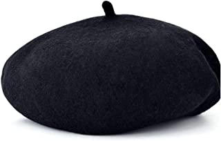 Shoes Comfortable Beret Woolen Large Size Wild Wool British Parent-Child Cap Fashion (Color : Black)