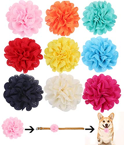 BIPY 9PCS Dogs Collar Flowers Collar Bows Puppies Cats Collar Charms Adjustable Accessories Slides Detachable Grooming Attachment for Costume BirthdayWedding Festival