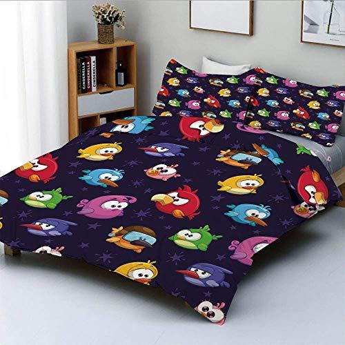 Juego de funda nórdica, Angry Flying Birds Figura con varias expresiones Juego Juguete Niños Babyish Artsy ImageDecorative Juego de cama de 3 piezas con 2 fundas de almohada, multicolor, el me