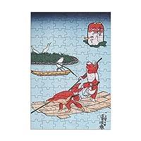 98ピース ジグソーパズル 歌 川 国 芳 金 魚 づ く し 浮 世 絵 木製パズル 子供の知育玩具 親子お楽しみ (20x29cm)