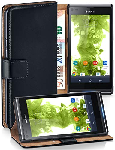 MoEx Cover a Libretto Compatibile con Sony Xperia L | Fessura Carta + Soldi, Supporto, Nero
