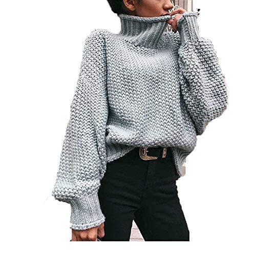 CoolStory Turtleneck - Jersey para Mujer, de Invierno, de Punto, Color Liso, Suelto Gris S