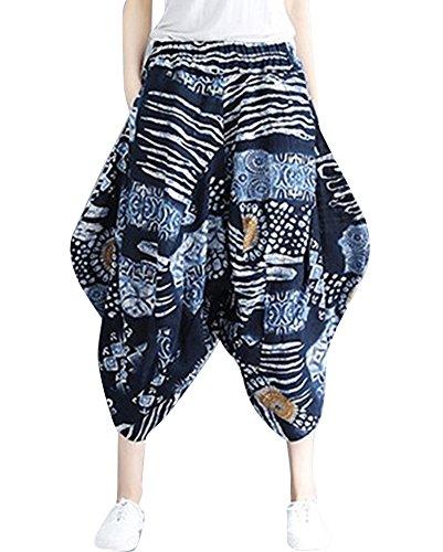 MISSMAOM Taglia Unica Pantaloni alla Turca Donna e Pantaloni Cavallo Basso Uomo con Stampe E Motivi Etnici L Abbigliamento Etnico
