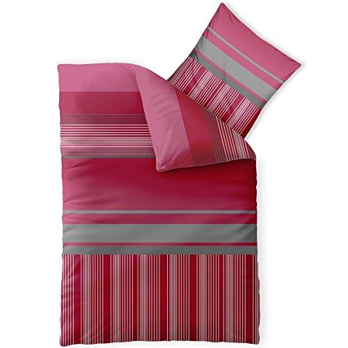 CelinaTex Harmony Bettwäsche 155 x 220 cm Mikrofaser Bettbezug Alice Streifen Rot Grau Weiß